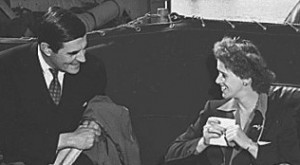 Anna Roosevelt talks with the British Ambassador during the 1945 Yalta Conference, to which she accompanied her father as aide. (FDRL)