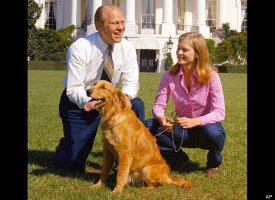 Susan Ford with her father and the family dog Liberty on the White House South Lawn. (GRFL)