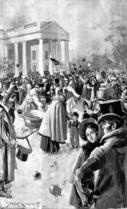 The mob scene outside the White House on Jackson's 1829 Inauguration Day.