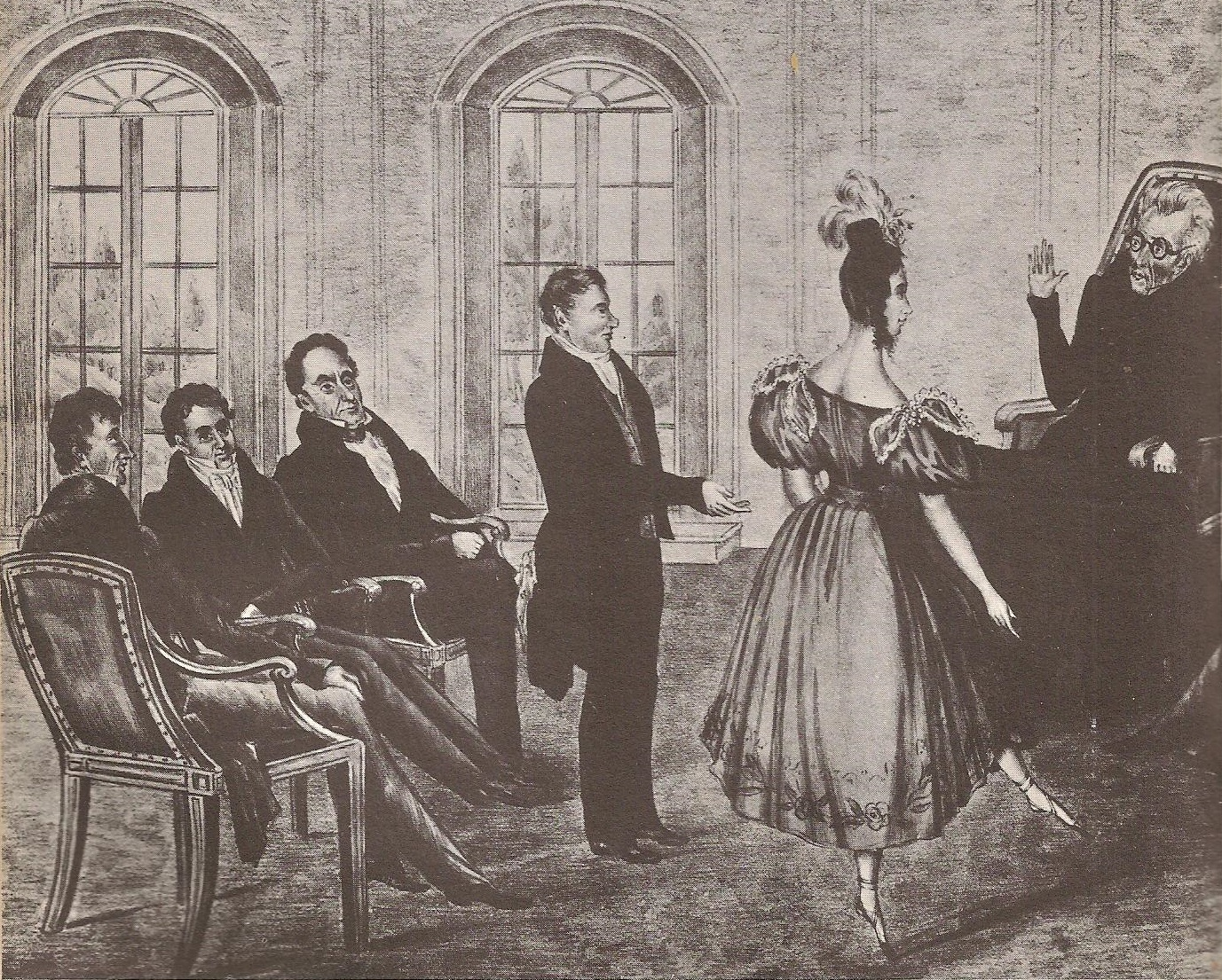A political cartoon suggesting President Jackson's approval of Peggy Eaton, scandalously dancing and showing her ankles, at a Cabinet meeting. (New York Historical Society)