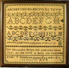A sampler stitched by Emily Donelson. (Tulip Grove Plantation)