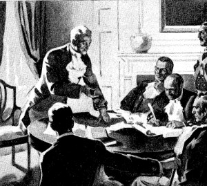 Monroe laying out his famous doctrine to his Cabinet.