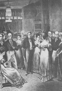 Teenager Emily Donelson attended the January 8, 1825 ball given for Andrew and Rachel Jackson by John Quincy and Louisa Adams, depicted 47 years after the event. (Harper's)