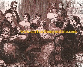 An illustrated British journal deppicted President Van Buren, his son Prince John and dauighter-in-law Angelica at a family gathering.