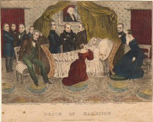 The only Harrison deathbed illustration correctly depicting two women, one rightly identified as his daughter Mrs. Taylor.