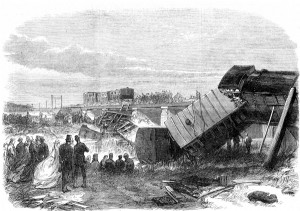 An English railroad derailment into an embankment, like the January 1853 one which killed Bennie Pierce. (wikipedia)