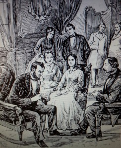 Artist and author Michelle L. Hamilton depicted Abraham and Mary Lincoln during a White House seance.