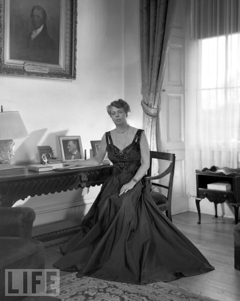 Eleanor roosevelt posed in what is currently the treaty room where