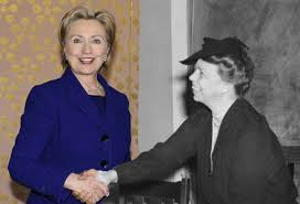 A composite imagine making humorous reference to how Hillary Clinton famously called on her imagination to think about Eleanor Roosevelt's reactions to what she was then experiencing as First Lady. (papermasters.com)