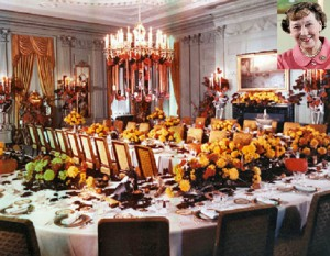 Mamie Eisenhower had the State Dining Room decorated with paper Fifties Halloween decorations for a 1956 autumn luncheon. (Eisenhower Library)