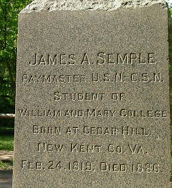 The burial headstone of James Semple. (csnavy.org)