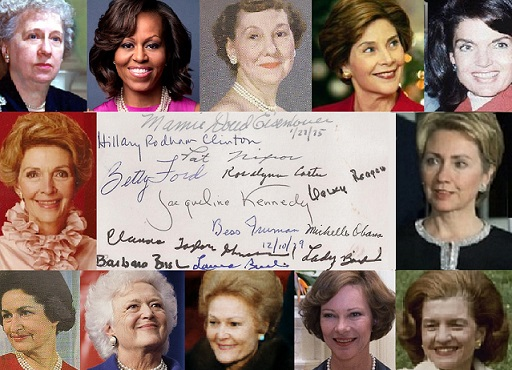 The most recent one dozen First Ladies, from Bess Truman to Michelle Obama, all signed this one index card, five doing so with names other than their given names at birth.