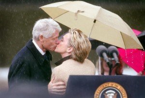 As she did for him during his presidency, Bill Clinton has been a supportive spouse at public ceremonies to his wife in her jobs as US Senator and Secretary of State. (Getty)