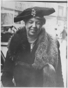 Eleanor Roosevelt on Fifth Avenue at Christmastime, 1940. (FDRL)