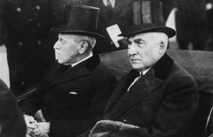 Seen with his healthy, younger successor Harding, it was outgoing President Wilson's survival which was feared. (LC)