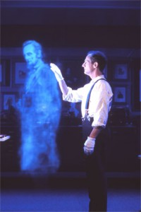 A Lincoln ghost hologram generated by engineers of the Lincoln Presidential Library and Museum.