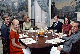 The Nixons and  their daughters and sons-in-law in the President's Dining Room. (RNPL)