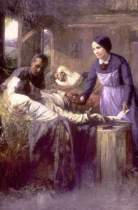 A painting showing Lucy Hayes working as a nurse to Union soldiers injured during a Civil War battle.