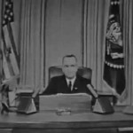 A screen capture of LBJ's televised speech to the nation on Thanksgiving Day, 1963. (youtube.com)