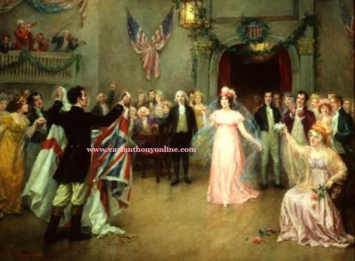 At one of her receptions, First Lady Dolley Madison was presented with the flag of a captured ship during the War of 1812.