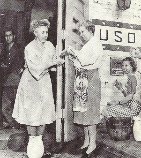 Bess Truman continued her volunteer work schedule and public support of the USO as a Senate wife during World War II into her years as First Lady during the Korean War