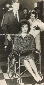 Days after Thanksgiving 1960, her husband rolled Jacqueline Kennedy out of Georgetown Hospital in a wheelchair after she gave birth to their son. (carlanthonyonline.com)