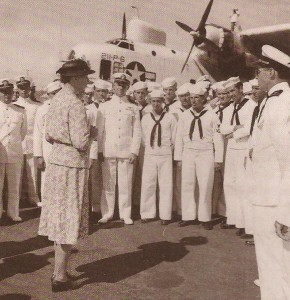 Eleanor Roosevelt speaks to sailors and Navy personnel at a naval base in Brazil. (FDRL)