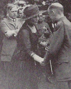 Florence Harding at one of the garden parties she hosted for disabled World War I veterans. Behind her with arms crossed is Charles Forbes, first director of the Veterans Bureau in which she took an active interest. (National Archives)