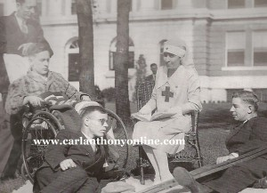 Grace Coolidge reading to blinded World War I veterans as a Red Cross volunteer.