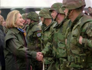 Hillary Clinton greets troops at Tuzla air base, Bosnia, March 25, 1996.