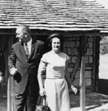 Lady Bird Johnson and the President outside of her church, St. Barnabas (LBJL).