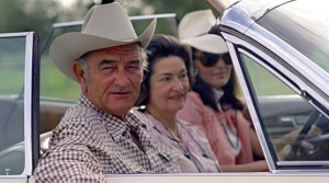 LBJ loved driving through Texas hill country with Lady Bird at his side in his convertible. Often, as he did on Thanksgiving 1967, he insisted on packing the car with as many people as possible - and taking the wheel  himself. (LBJL)