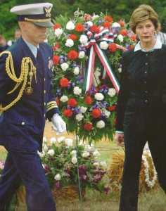 Laura Bush at a ceremony following the 2001 terrorist attacks.