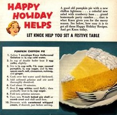 Mamie Eisenhower's Pumpkin Chiffon Pie recipe became ubiquitous in the 50s. (Knox Gelatin)