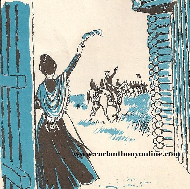 Peggy Taylor waving to her husband and his troops as they leave fort for battle.