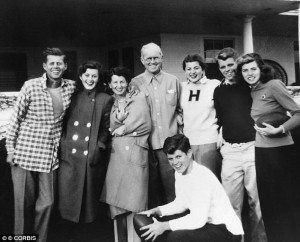 President Kennedy and his family on Thanksgiving 1947 at their Hyannis home, where they traditionally celebrated the holiday. (JFKL)