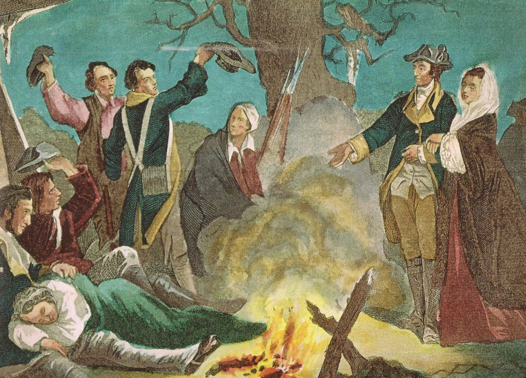 As seen in this painting rendered after the fact, Martha Washington was a visible presence during the legendary suffering of American Revolutionary troops during the winter at Valley Forge. (NFLL)