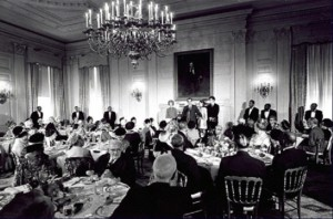 The State Dining Room, one of two rooms where senior citizens were joined by the Nixons for a Thanksgiving lunch in 1969. (RNPL)
