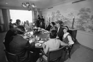 Lady Bird Johnson hosted a large crowd at the LBJ Ranch for Thanksgiving Day, November 25, 1965. (LBJL)
