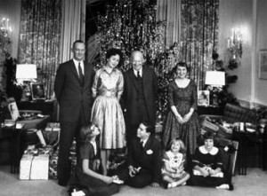 The Eisenhower family in the West Sitting Hall in front of the family's tree.