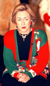 Hillary Clinton in her Nineties Xmas sweater.