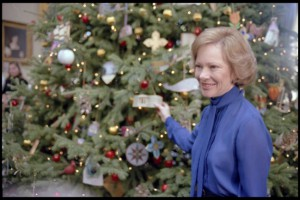 Rosalynn Carter at the 1980 Christmas Tree.