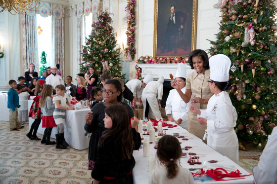 Michelle Obama invited the children of active members of the armed service to help make ornaments and cookies.
