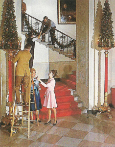 Pat Nixon helped the staff decorate the White House during the holidays.