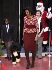 Michelle Obama brought along her dog Bo to holiday events outside of the White House as well as those held there.