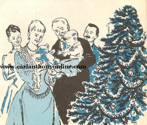 In this illustration, Caroline Harrison presents a gift to her grandson in front of the first definitively documented White House Christmas tree.