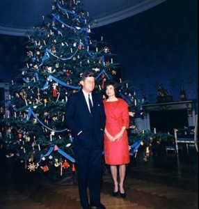 The Kennedys in front of the Nutcracker Suite tree.