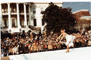 Peggy Fleming skating at the ice rink built on the South Lawn for Rosalynn Carter's 1980 outdoor Christmas party.