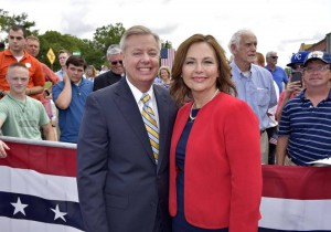 U.S. Senator Lindsey Graham of South Carolina, a candidate for the 2016 Republican presidential nomination, with his sister Darline Nordone, (AP)