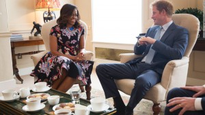 "Mrs. Obama meets with Prince Harry of England in promotion of ""Let Girls Learn,"" June 16, 2015. (Reuters)"